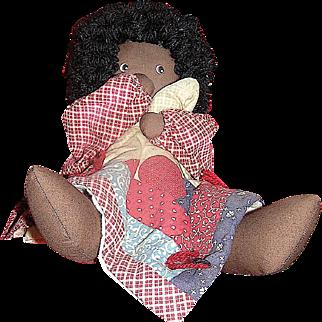Vintage Handmade doll, black, Thumbsucker Doll, Country Blessings, 1992