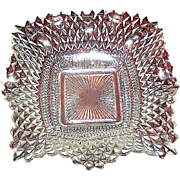 Vintag press glass dish, quillted diamond pattern, mid 20th c.