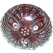 Vintage depression glass dish in the button pattern (2)