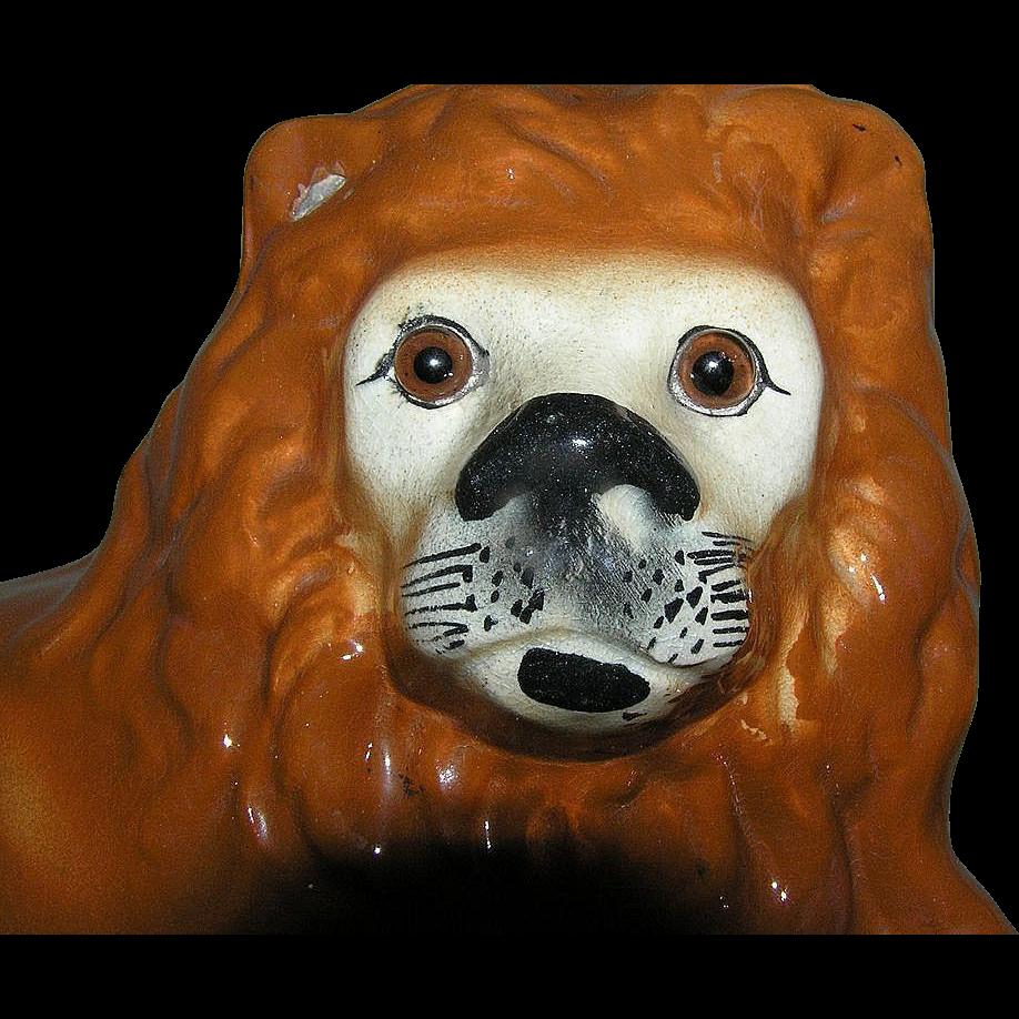 Staffordshire Lion Figurine Glass Eyes c1895