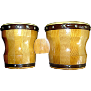 Vintage set of bongo drums, mid century