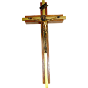 Vintage crucifix of solid wood and brass, excellent workmanship and condition, mid century