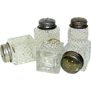 Vintage miniature pressed glass matching salts