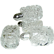Vintage set of 4 salt and pepper shakers, clear, metal lids