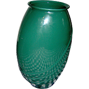 Large Vintage Glass deco vase, 16 inches tall