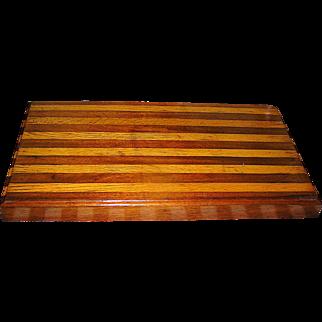 Vintage folk art treen wood kitchen board or chopping block
