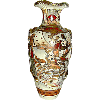 Vintage Satsuma Vase, very early Meiji influence with court officials