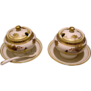 Vintage pair of tiny, matching Japanese porcelain covered condiments hand painted in gold