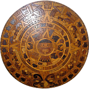 Huge vintage folk art wood mosaic wall hanging of the Aztec Calendar or Sunstone