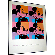 Vintage Mickey Mouse facsimile of Andy Warhol's silk screen of 1981, framed ready to hand, Paris