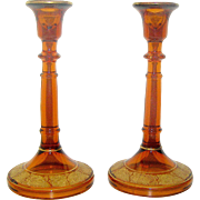 Vintage elegant early American pressed glass candlesticks with gold embellishments