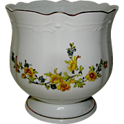 Vintage Jardiniere with motif of yellow flowers, mid 20th c.