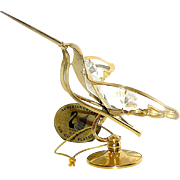 Vintage statue of a small hummingbird plated in 24K gold