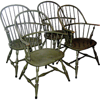 Vintage Colonial Revival set of four matching armchairs with original paint, early 20th century