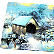 Vintage tile by Thomas Kincade, Christmas snowscape, mid-century