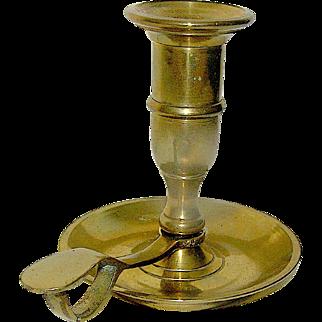 Vintage brass hand held candleholder, solid brass, mid century