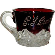 EAPG flashed ruby souvenir glass initialed and dated 1911