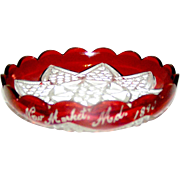 EAPG flashed ruby souvenir plate initialed and dated 1910