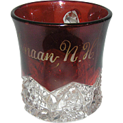 Vintage, pressed glass, flashed red, souvenir