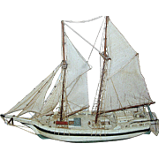 Model of a two mast sailboat or schooner all original and hand made