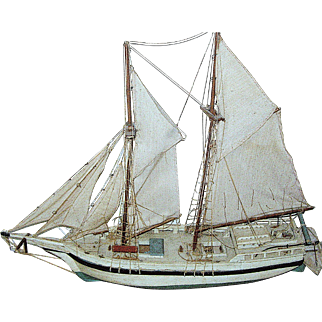 Large ship's model of a two masted sailboat, all original hand done, carving, early 20 th c. RARE!