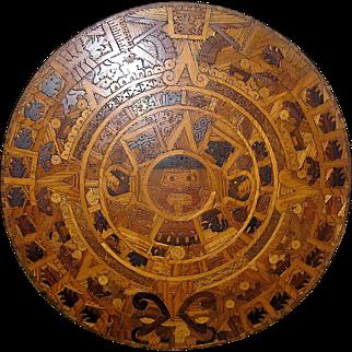 HUGE vintage folk art wood mosaic wall hanging of the Aztec Calendar or Sunstone- approx THREE FEET in diameter!