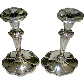 Exceptional silverplate candlesticks in Queen Anne Style, signed Barbour