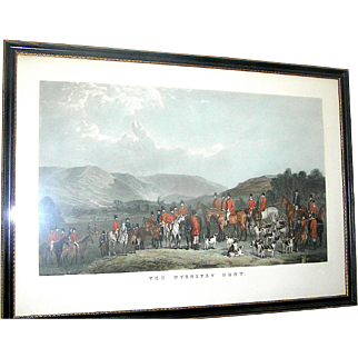 Original hunting scene print of The Wynnstay Hunt by  W. T. Daley in the original Westminster frame