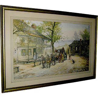 "Vintage Print, engraving of ""A Chance Passenger"", Mail Coach. early 20th c."