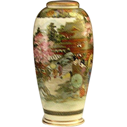 Satsuma signed and hall-marked vase of court ladies made in the late 19th century