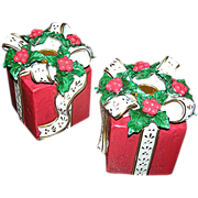 Pair of Christmas wrapped packages as candle holders, Exc.