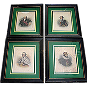 Set of 4 Regency Prints from early 19th century signed Phillibrown