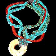 Faux plastic turquoise, coral, necklace