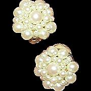 Vintage, simulated pearl cluster earrings. VG, unmarked