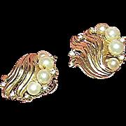 Pair of Trifari, simulated pearl and rhinestone earrings, marked