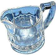 """Small Pressed, glass pitcher, only 2 1/2"""" tall"""
