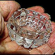 """Tiny, Cut Glass, open salt, 1 7/8"""" diameter"""