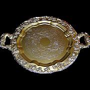Silverplate tray, faux gold, Sheetz Rockford, 1875