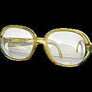 Retro Christian Dior Bifocal eyeglasses, 80's, light yellow.
