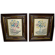 Antique picture frames with folk art watercolors from the late 19th century