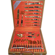Siam Cutlery set- Bronze, nickel, service for eight, boxed!