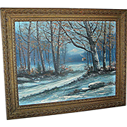 Oil Painting by Victor Shearer of a woodscape, signed