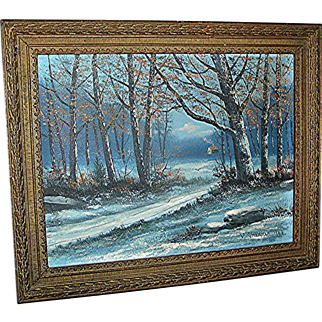 vintage oil painting by Victor Shearer of a woodscape, signed