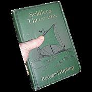 Hardblack Book entitled Soldiers Three by  Rudyard Kipling