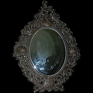 Antique Slanting Spelter Metal  Mirror, beveled with original mirror