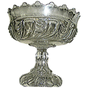 Antique glass compote EAPG, molded, clear. 19th c