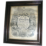 Print, Knights of Pythias, mahogany frame, dated 1872, Rare!