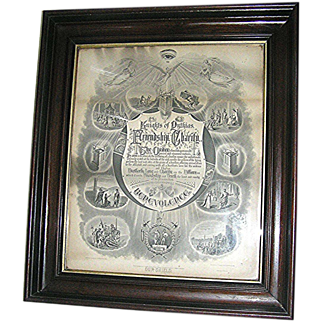 Antique Mahogany Frame with  Knights of Pythias, fraternal order, print, dated 1872- Rare!