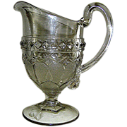 Pressed Glass Pitcher, EAPG,  Pattern Glass, Loop and Dart with Diamond.