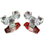 Candlesticks:matching glass in a deco, pressed pattern - Red Tag Sale Item